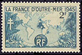 """France Timbre Stamp N°741 """"La France D'outre-Mer 1945"""" Neuf Xx Ttb"""