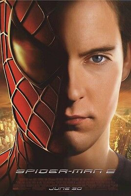 SPIDER-MAN 2  MOVIE POSTER ~ SPLIT FACE 27x40 Tobey Maguire
