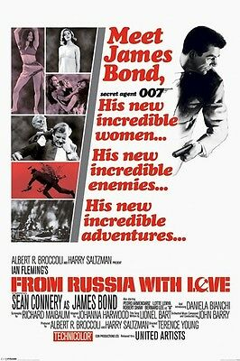 JAMES BOND ~ FROM RUSSIA WITH LOVE INCREDIBL 24x36 MOVIE POSTER Sean Connery 007