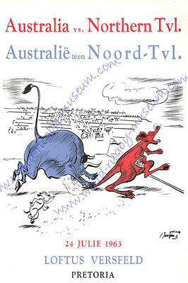 Northern Transvaal, South Africa v Australia 1963 match advertising Rugby Poster