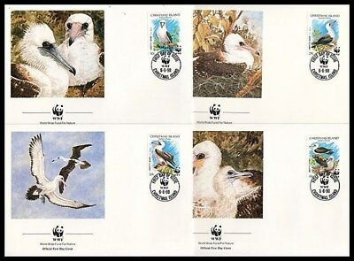 CHRISTMAS ISLAND 1990 WWF ABBOTTS BOOBY BIRDS SET ON FDC's (x4)