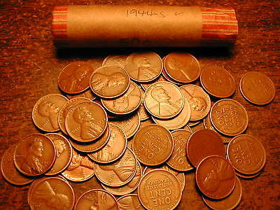 1944-S LINCOLN WHEAT CENT PENNY ROLL, nice condition