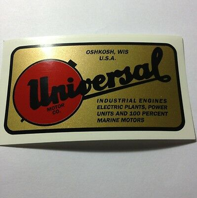 Universal Motor Co. Decal For Water Cooled B&S N, 8, Z Generator Oshkosh Wis
