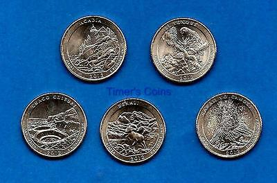 2012 S BU National Parks Quarters Set of Five- All Five Brilliant Uncirculated