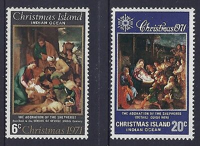 Christmas Island 1971 Christmas Fine Mint Set Of 2 Mnh/muh