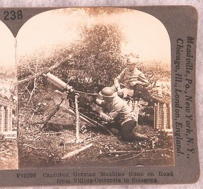 Stereoview card: French Troops with Captured German Machine Gun