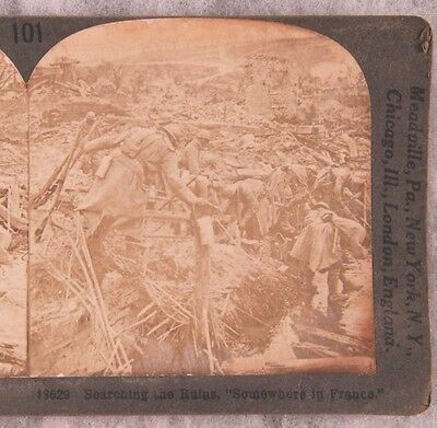 Stereoview card: French Troops Searching the Ruins