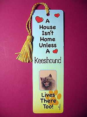 """Keeshound""- A House Isn't  Home Tassel Bookmark (flag gold tassel) Sku# 52"