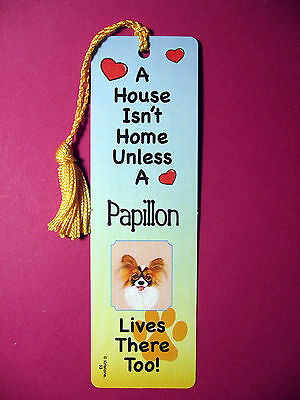 """Papillon"" A House Isn't Home -Tassel Bookmark (flag gold tassel) Sku# 53"