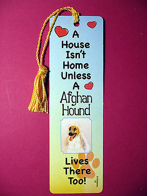 """Afghan Hound"" A House Isn't  Home Tassel Bookmark (flag gold tassel) Sku# 61"