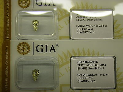 GIA Certs 1.06cttw matched PEAR cut diamonds NATURAL LIGHT YELLOW VS1 & SI-2