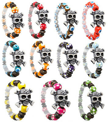 wm016 wholesale lots 11pcs fashion hot acrylic skull wood bead stretch bracelet