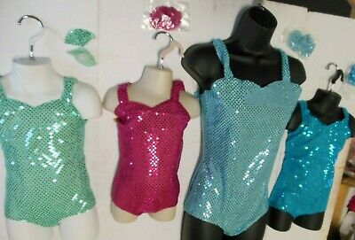 NWT FAUX SEQUIN LEOTARD CHILD szs DANCE BATON COSTUME many COLORS LYCRA Back