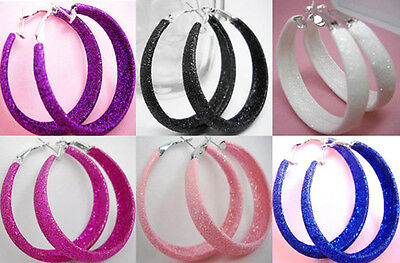 we029 wholesale lots 6 pairs dull polish fashion hoop earrings jewelry hot sell