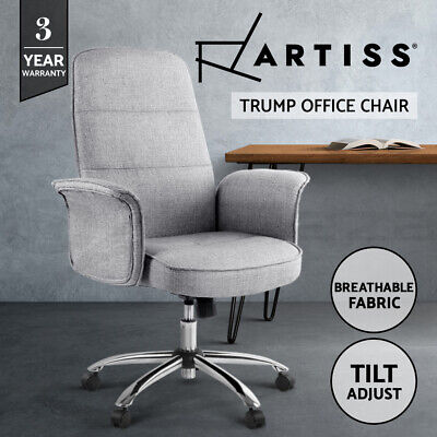Artiss Fabric Office Desk Chairs Task Side Conference Computer Work Seat Grey