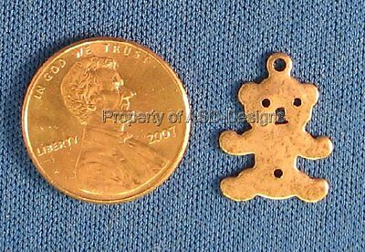 50pc Antique Copper Plated Solid Cuddly Kids Teddy Bear Charm 6077