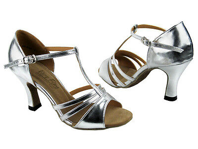 "Silver Salsa Ballroom Latin Satin Leather Dance Shoes 2.5"" / 3"" Very Fine 1683"