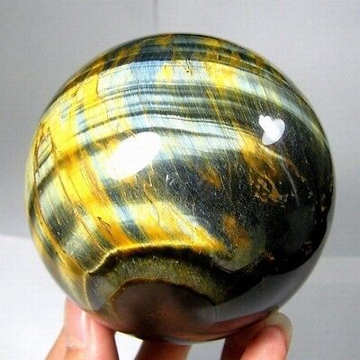 76mm Natural Gold & Blue Tiger Eye Crystal Sphere/Ball-tes76ie0233