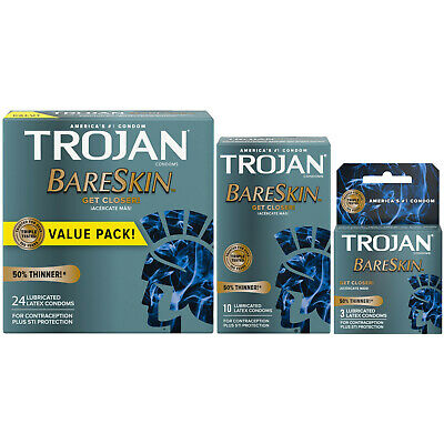 Trojan BareSkin 40% Thinner Premium Latex Condoms - Choose Quantity