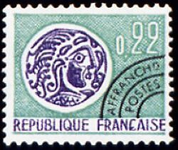 "FRANCE PREOBLITERE TIMBRE STAMP N°125 "" MONNAIE GAULOISE 22c "" NEUF (x) TB"