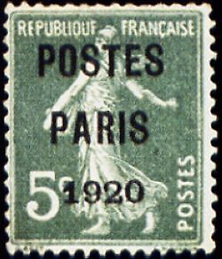"""FRANCE PREOBLITERE TIMBRE STAMP N°24 """"TYPE SEMEUSE, SURCHARGE 5C"""" NEUF (x) TB"""