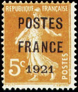 """FRANCE PREOBLITERE TIMBRE STAMP N°33 """"TYPE SEMEUSE, SURCHARGE 5C"""" NEUF x TB"""