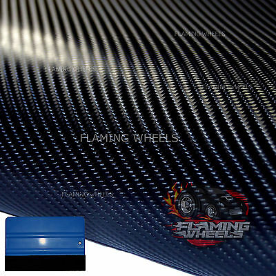 1.5m x 2m 4D Carbon fibre vinyl wrap BLACK sticker decal car BONNET ROOF carbone