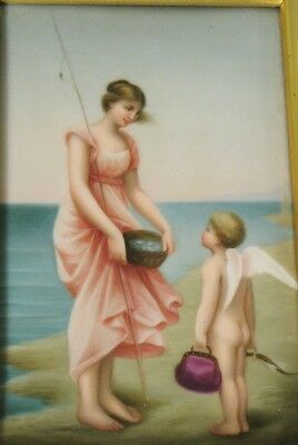Antique Hand-Painted German Plaque Painting on Ceramic w/ Woman & Putti  c. 1870
