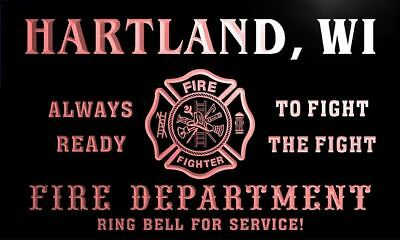 qy69034-r FIRE DEPT HARTLAND, WI WISCONSIN Firefighter Neon Sign