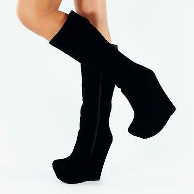 """Wedge Shoes Black Suede Very High 6"""" Heel Boots Ladies Womens Girls Size Uk 3-8"""