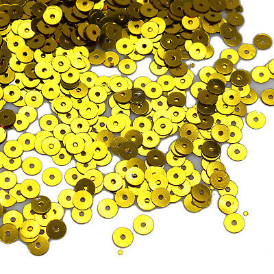 8000 Gold 5mm Flat Round loose sequins Paillettes sewing Wedding craft
