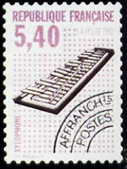 """FRANCE PREOBLITERE TIMBRE STAMP N°227 """"INSTRUMENTS, XYLOPHONE"""" NEUF xx TTB"""