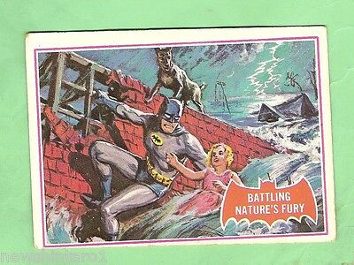 Scanlens 1966 Batman Red Bat Card #23A  Battling Nature's Fury