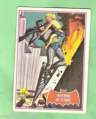 Scanlens 1966 Batman Red Bat Card #40A  Inferno Of Flame