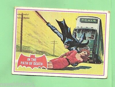 Scanlens 1966 Batman Red Bat Card #38A  In The Path Of Death