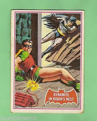Scanlens 1966 Batman Red Bat Card #33A  Dynamite In Robin's Nest