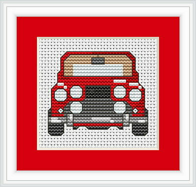 Red Mini Cross Stitch Kit - Luca S - Beginner 6.5 x 5.5cm