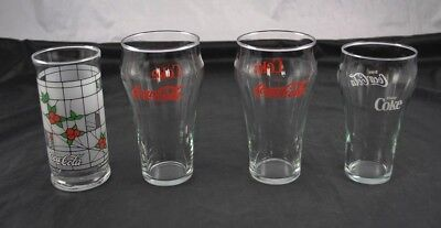 Lot of 4 Vintage Clear Glass Coca Cola Coke Tumblers Water Stained Bell CC3P3