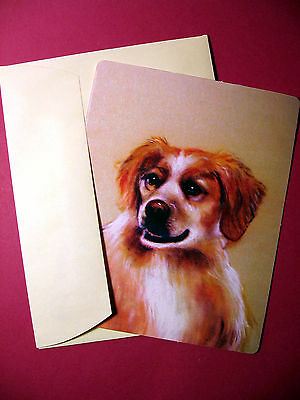 """Brittany Spaniel"" Single Dog Greeting Card - Blank Note Card - sku# 28"
