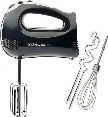 Andrew James 300W Black Hand Food Mixer, Whisk, Dough Hooks, 5 Speed + Turbo