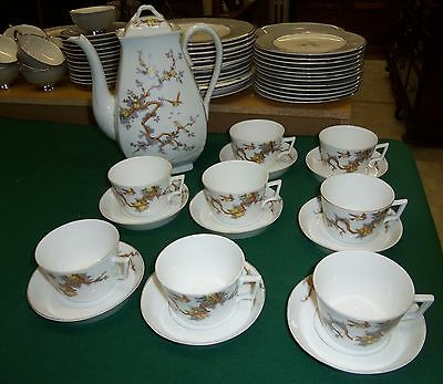 Antique Porcelain Coffee Service Coffee Pot Cups Saucers Bawo & Dotter Carlsbad