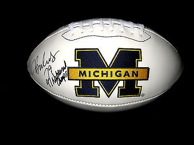 Jeff BACKUS Signed & Inscribed Michigan Wolverines Logo Football
