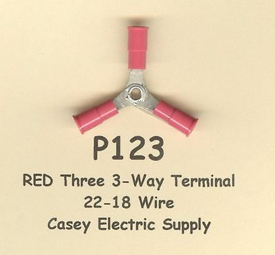 10 Red Three 3-Way Insulated Terminal Connectors #22-18 Wire AWG MOLEX