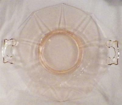 Decagon Peach Blo Handled Tray Cambridge Pink Elegant Glass Cake Plate EX COND