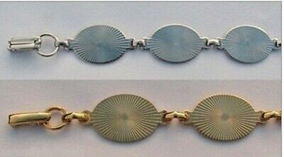 Lot of 10 BRACELET Blanks Forms (5 SILVER +5 GOLD) 6 OVAL PADS 20mm per bracelet