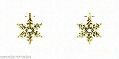 "20 SNOWFLAKE Charms Pendant ~ Antique GOLD Color 24x20mm w/ loop Metal ~ 1"" high"
