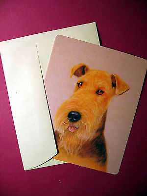 """""""Airedale Terrier"""" 1 - Dog Greeting Card - Blank Note Card - sku# 45"""