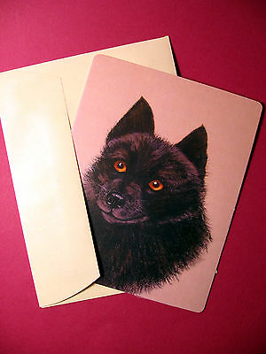 """Schipperke"" 1 - Dog Greeting Card - Blank Note Card - sku# 54"