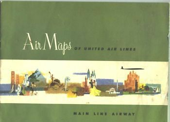 """1958 United Airlines """"Air Maps"""" Booklet showing routes in the US"""