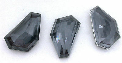 30.5mm x 17mm Fancy Faceted Hexagon Doublet Hematite Quartz Gemstone Gem B21A34